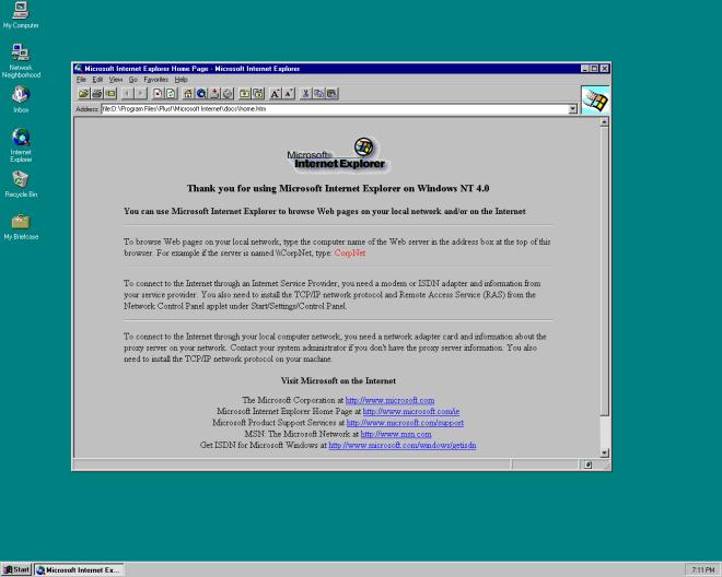 internet explorer splash page
