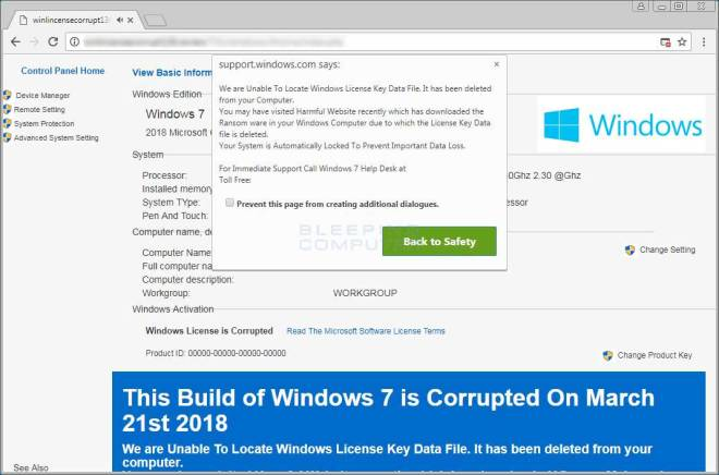 Unable to locate Windows License Key Data File Support Scam