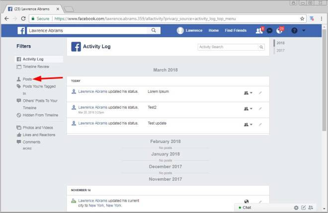 Click on the Facebook Posts Filter