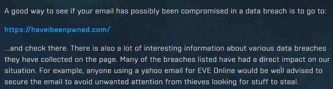 EVE Online HIBP Recommendation