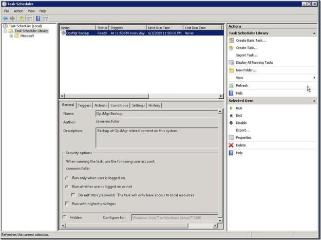 Scheduling OpsMgr Backup in Server 2008 - 10