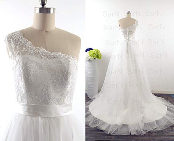 Romantic Bridal Gown, One Shoulder Lace Wedding Gown