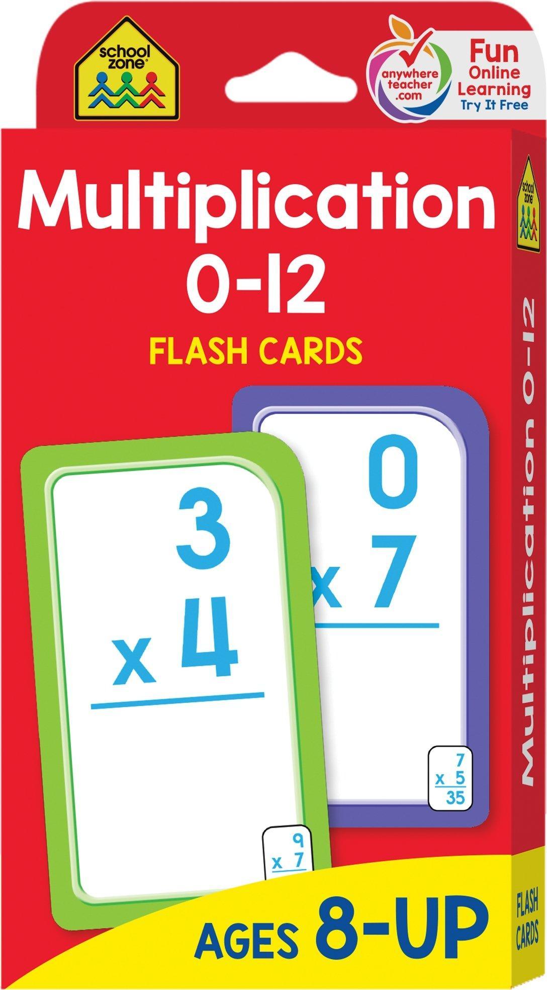 School Zone Math Multiplication 0 12 Flash Cards Learning