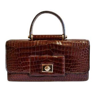 Hermès 1940's Crocodile Top Handle Bag