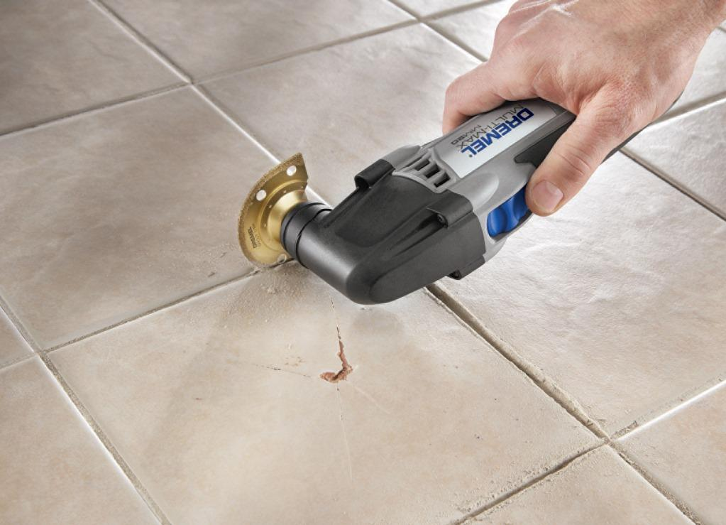 remove old grout from tile joints