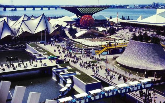 Broad view of Expo 67, the 1967 World's Fair in Montreal