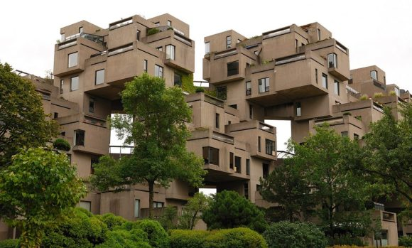 Habitat 67 from a street view; you can see the lego-like structure rising up.