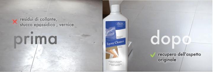 prima e dopo rimozione dei residui di fuga con epoxy cleaner.