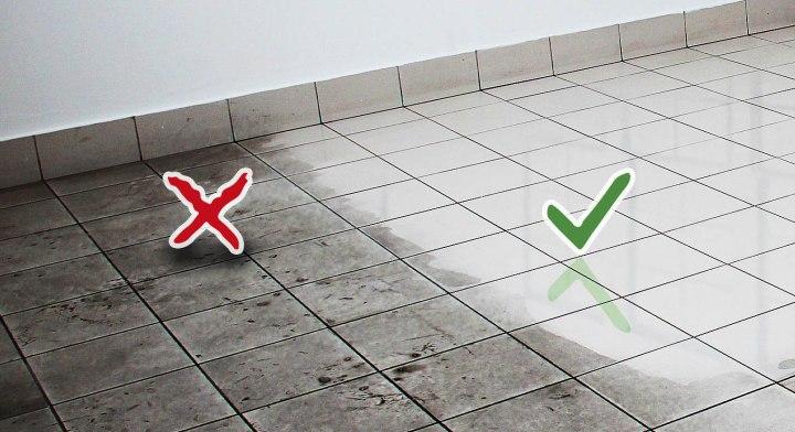 Come pulire il gres porcellanato: prima e dopo.
