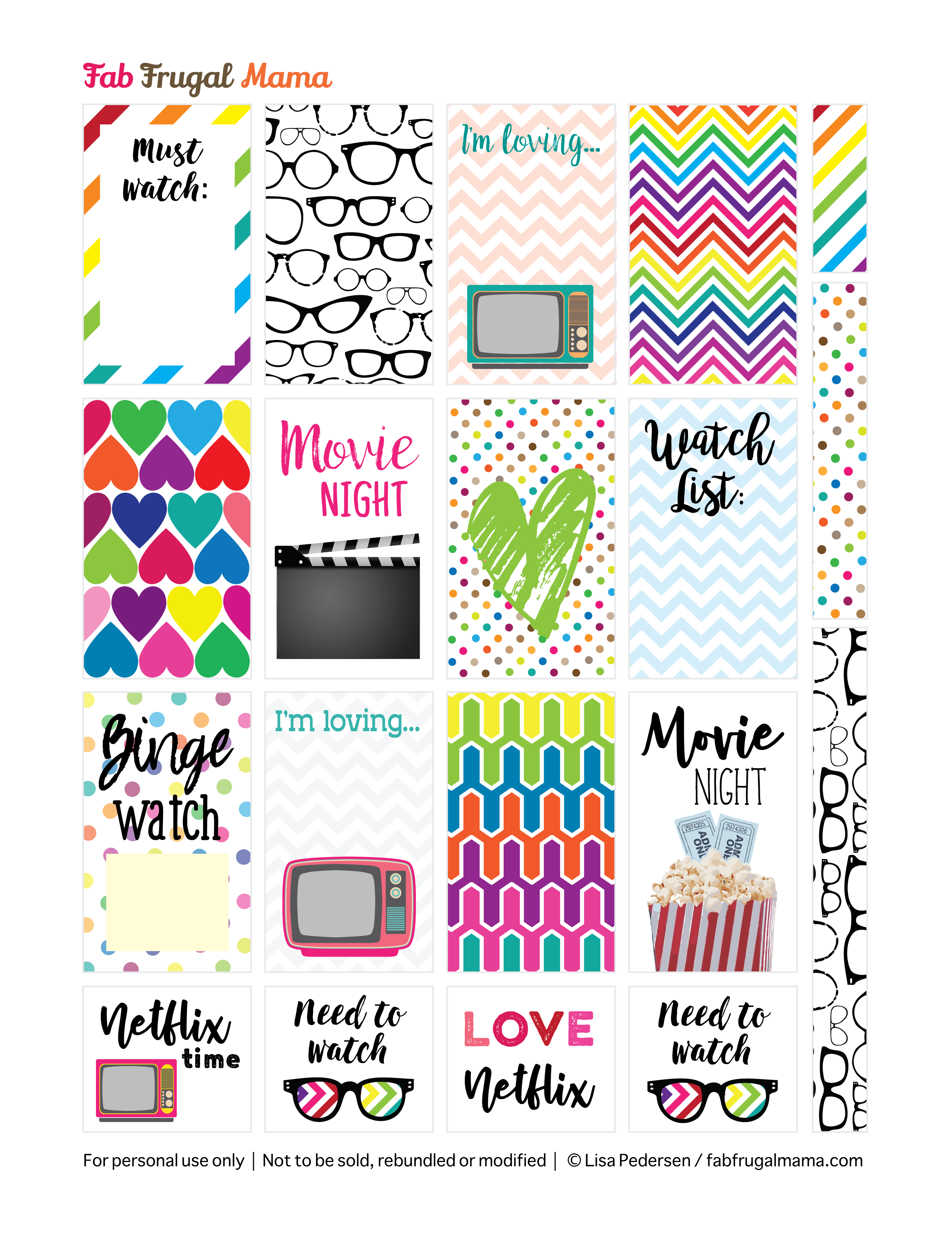 Free Printable Happy Planner Tv Movie Stickers Fab Frugal Mama