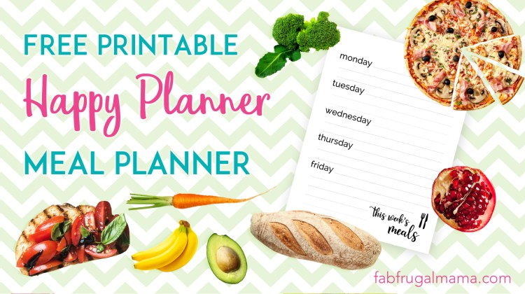 Free Meal Planning Printable for Happy Planner