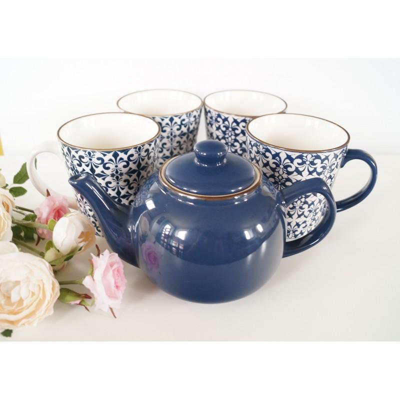 Stylish Mosaic Blue And White Decorative Mugs Set Of 4 And