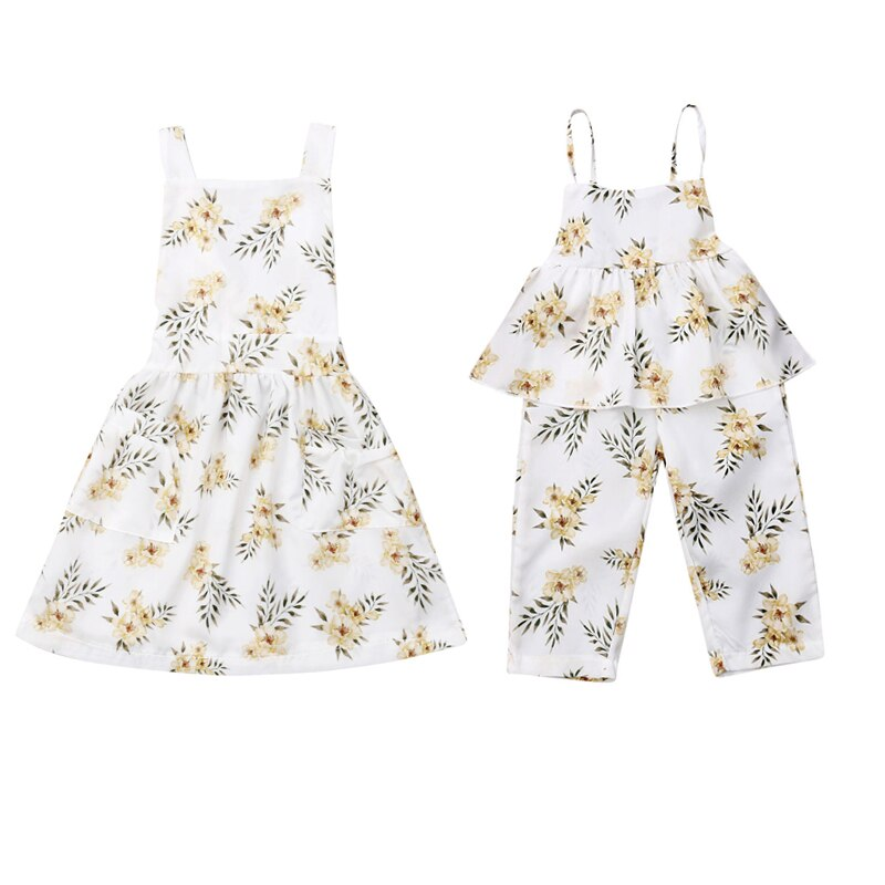 White floral print dress and matching full length romper for infants