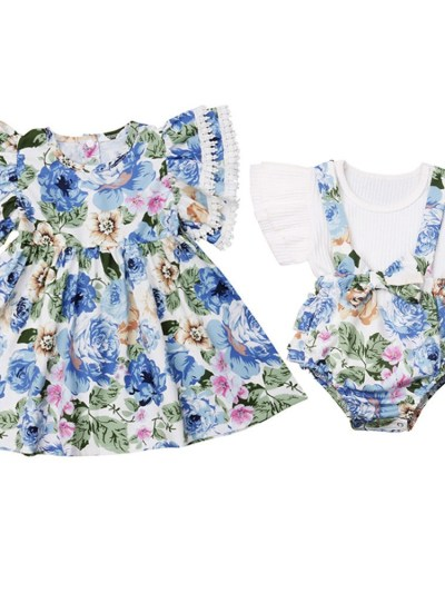 Sisters Matching multi colors floral print dress
