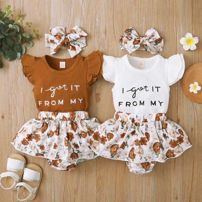 Got it from My Mom Print Floral Brown Dress