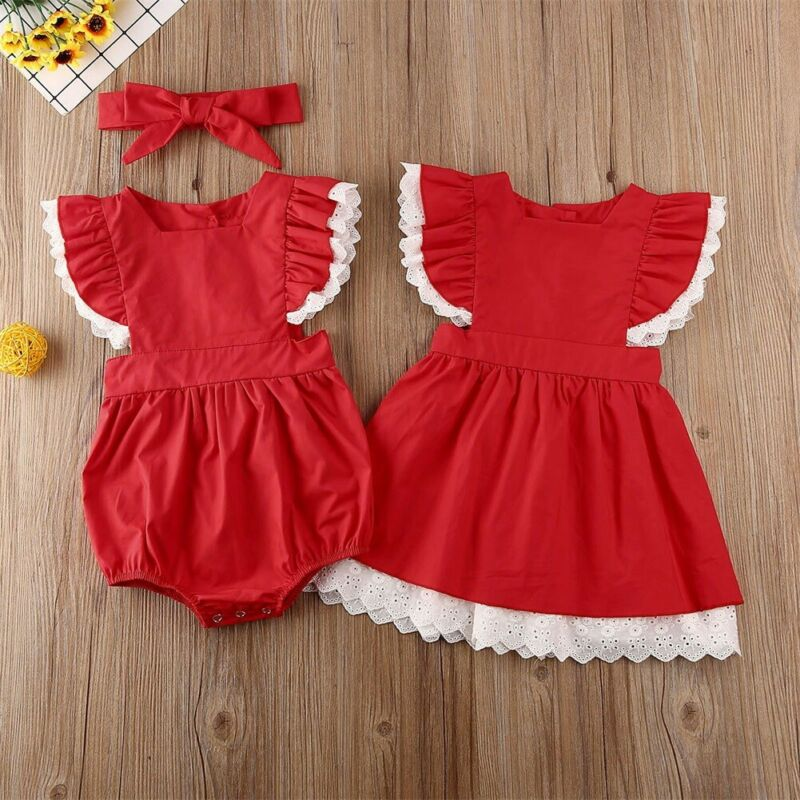 Red Matching First Christmas Dress For Girls