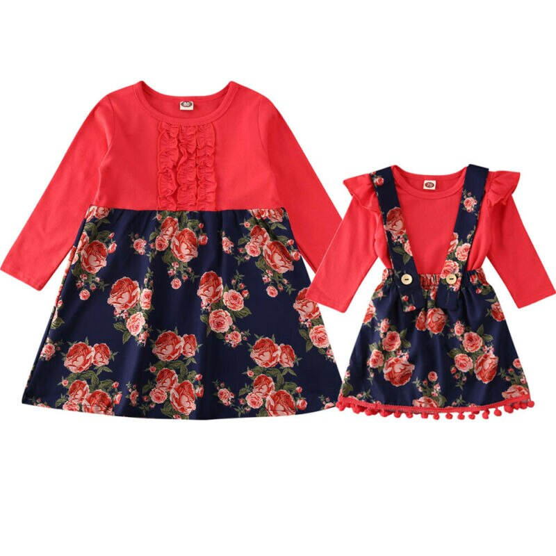 Tomato Red Floral Print Sis Match Romper n Dress