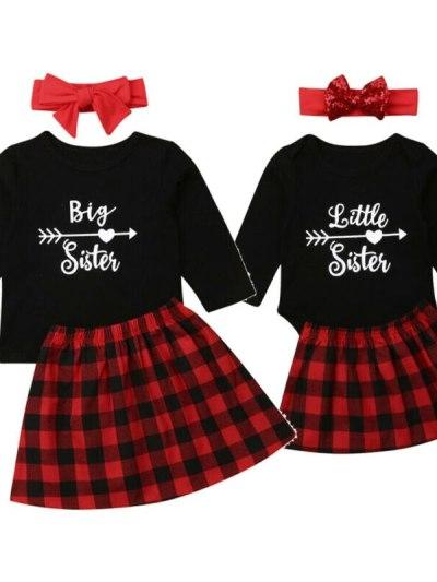 Matching Black Top Plaid Skirt and Headband