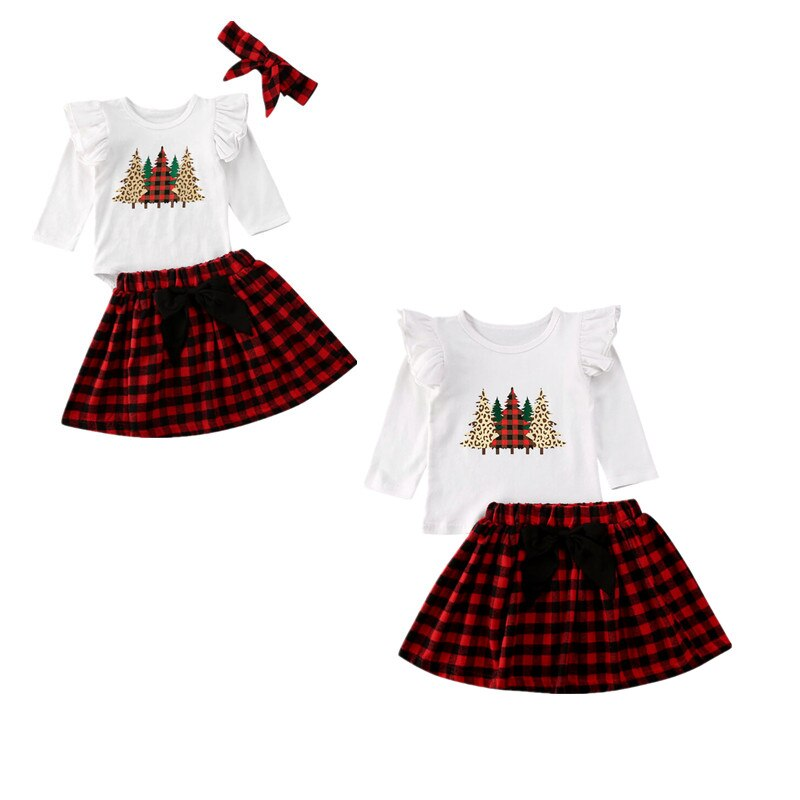 Xmas Tree Print Plaid Bow Skirt Sister Match Bodysuit Top
