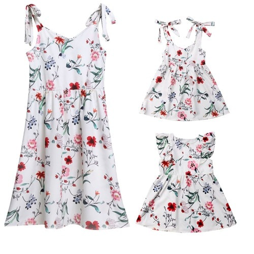 Cotton Strapped Floral Dress for Mother n Daughter