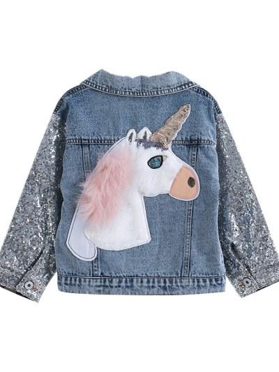 Party Wear Sequins 3D Unicorn Print Girls Denim Jacket