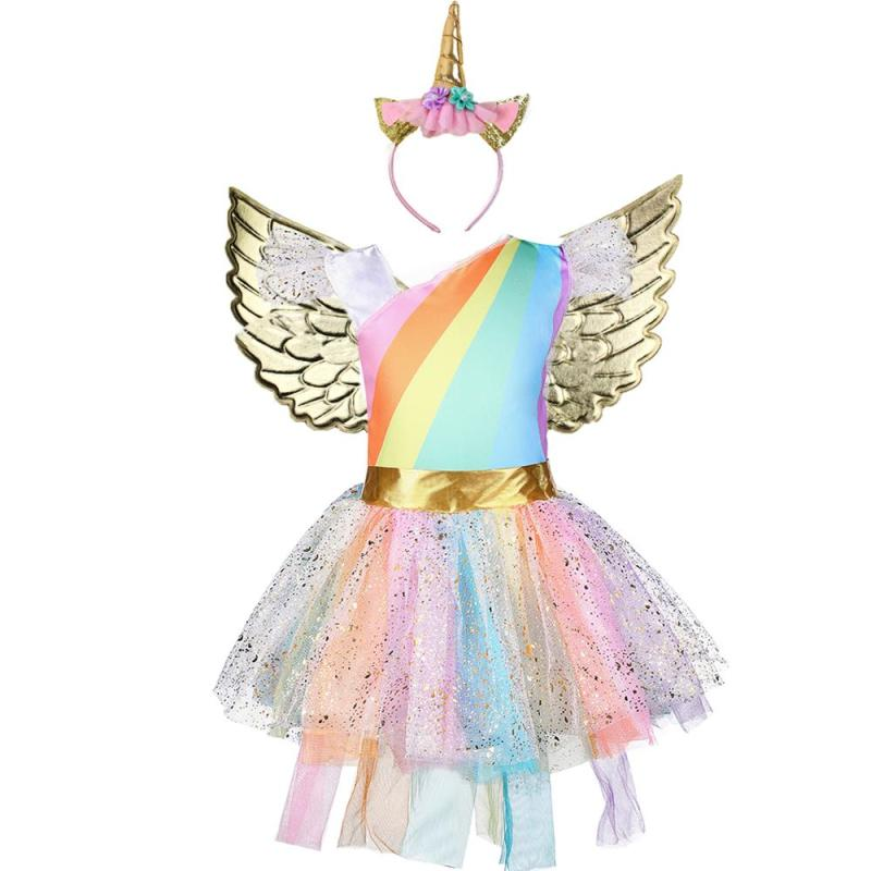 Girls Unicorn Rainbow Sparkle Party Dress With Wings