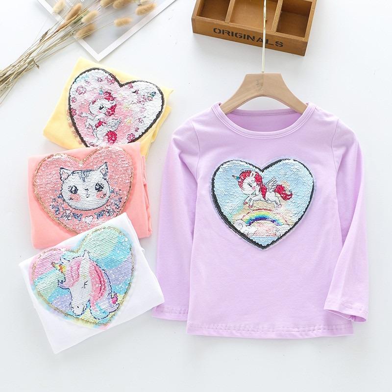 Girls Sequins Unicorn Heart Tee
