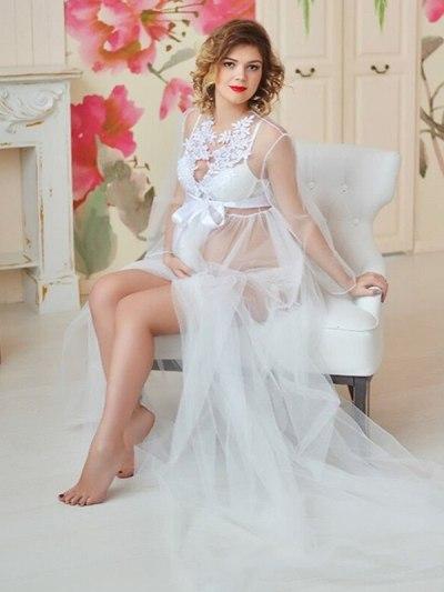 White Floral Neck Designer Tulle Long Pregnancy Dress
