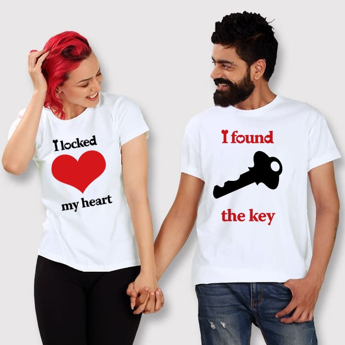I Locked My Heart I Found The Key Lovers Couple Matching Tees