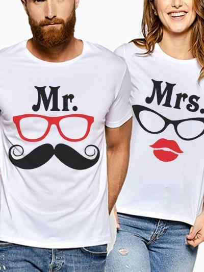 Mr & Mrs Print Lovers White T-Shirt