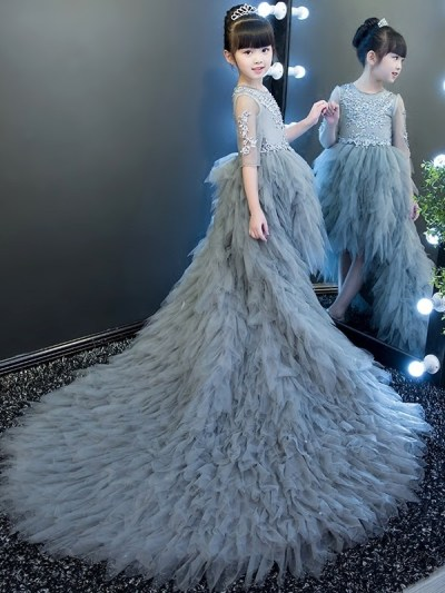 Gray fairy long tail trailing Matching Mother Daughter Dress
