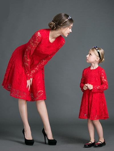Mommy n Me Long sleeves Red Lace Dress
