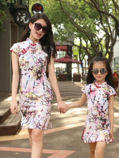 Spring Floral Summer Matching Dress For Mother Daughter
