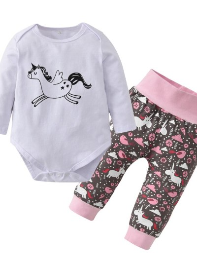 Newborn Baby Girl Pink Unicorn Outfit