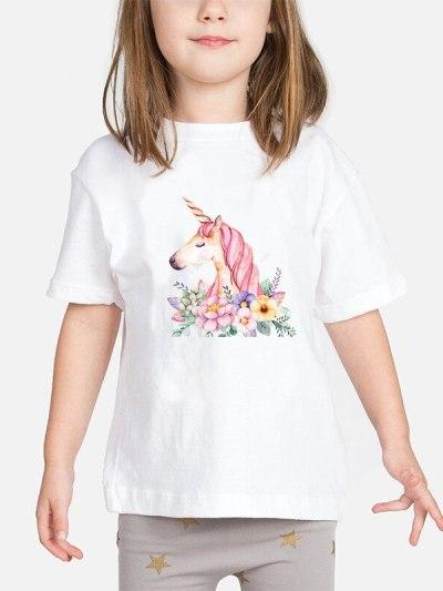 Teenagers Casual Unicorn Floral Print Girls Top