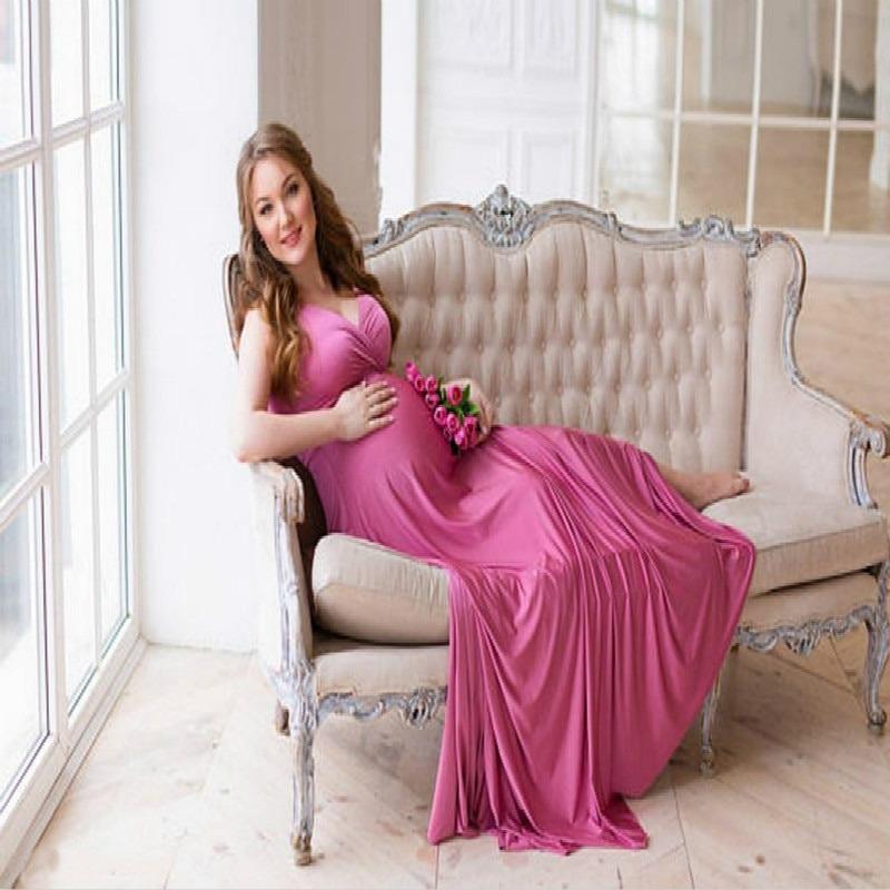 Maternity Photography Props Black Maxi Maternity Dress