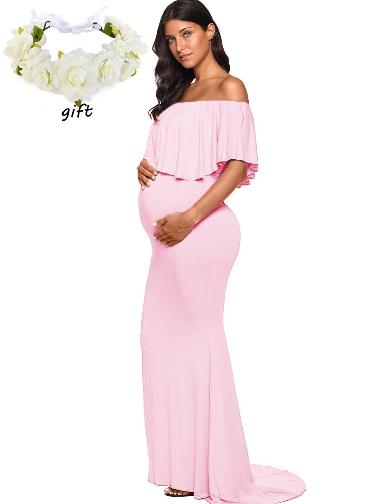 Chic Off Shoulder Ruffle Sleeves Baby Shower Maternity Dress