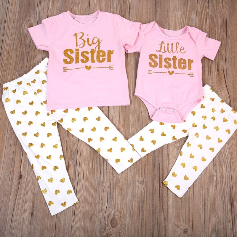 Gold Heart Print Big Lil Sis Same Look Outfits