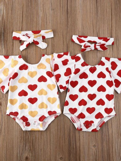 Baby Girl Valentine's Heart Jumpsuit Headband Outfit