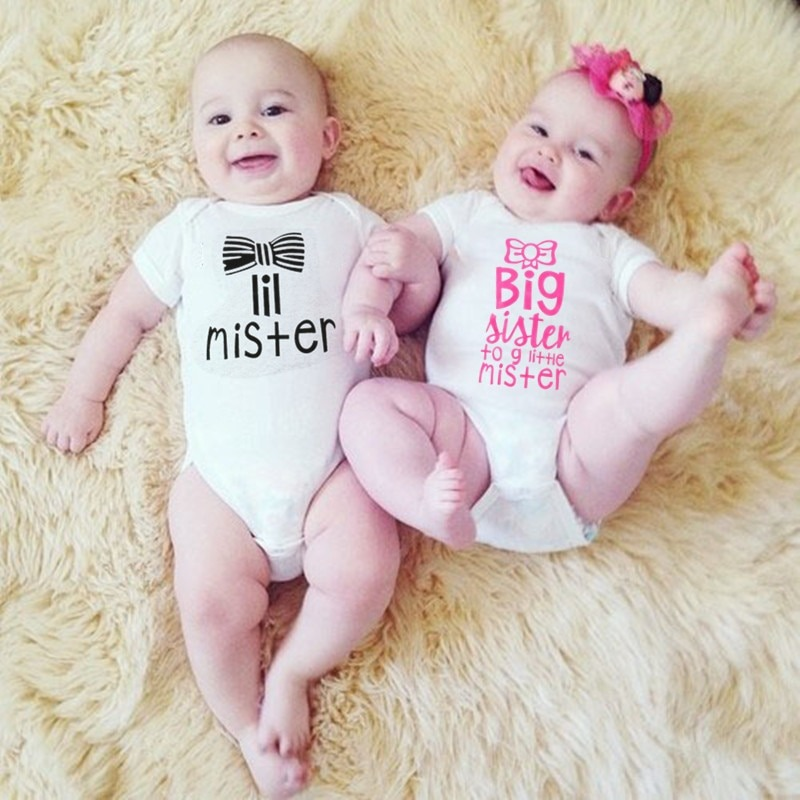Big Sister Little Mister Baby Boy Girl Twin Rompers