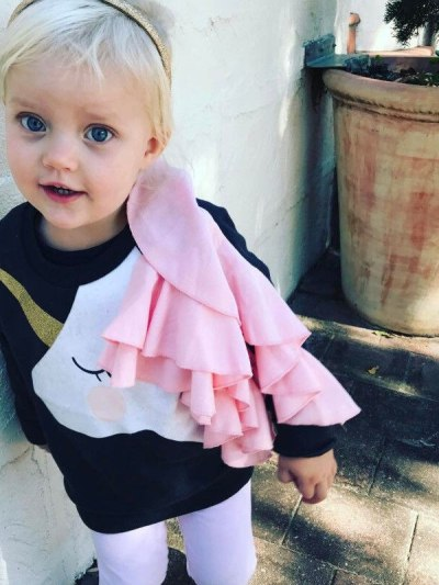 Baby Girls Black Unicorn Ruffle Top