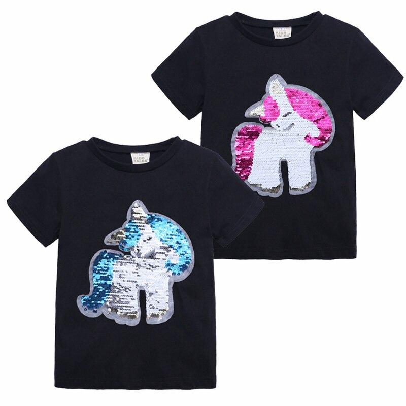 Girls T-Shirts Magic Sequin Reversible Cotton Unicorn Tops Tee