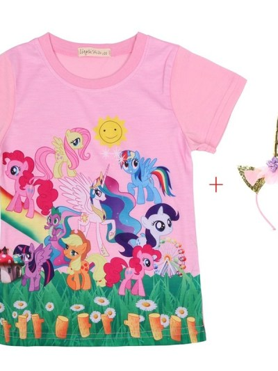 Unicorn Family Party Pink Tees for Girls