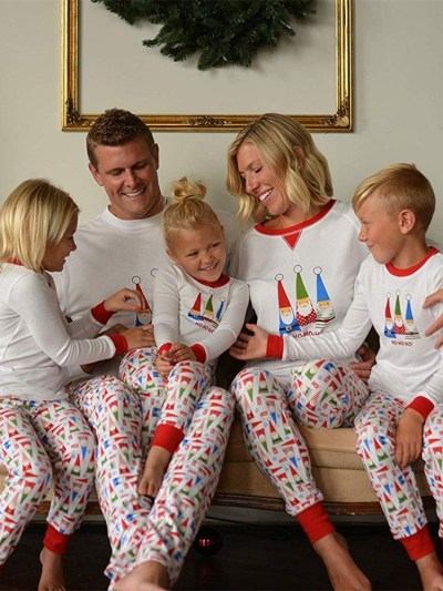 Elves Print Colorful Couple Matching Pajamas