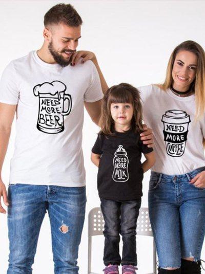Milk Beer Coffee Print Mom Dad Me Matching T-Shirt