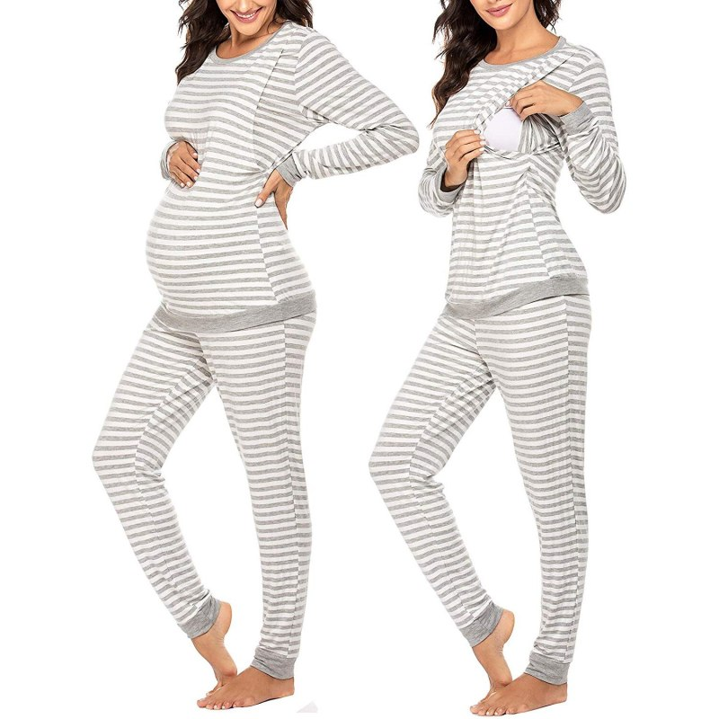 Striped Red Black Pregnancy Pajama Set 2-piece Sleepset