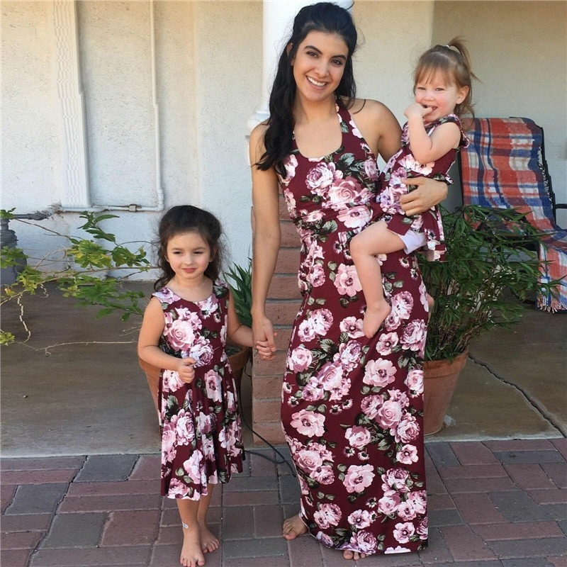 Red Floral Same Look Maxi Dress For Mommy and Baby
