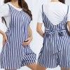 Suspender Striped Printed V-Neck Belt Maternity Jumpsuits