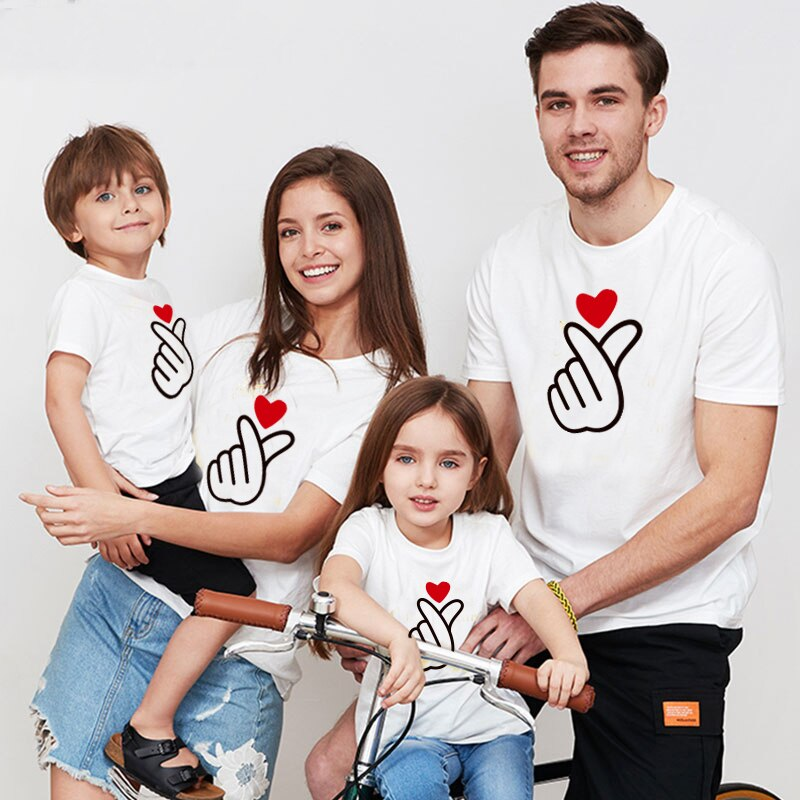 Heart Hand Mom Dad Son Family Look T-Shirts