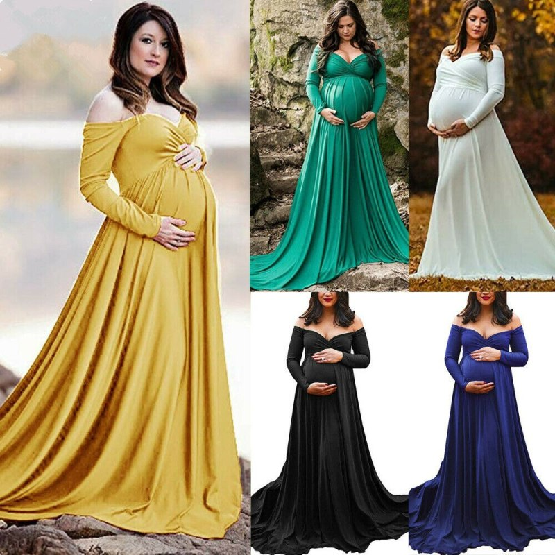 Long Maxi Gown Wrap Dress for Maternity